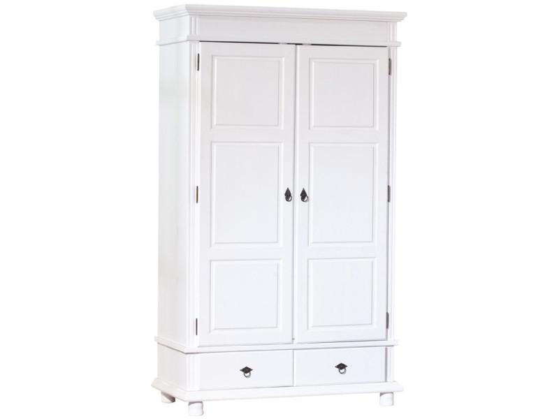 Armoire Blanc En Pin Massif Avec 2 Portes Dim 116 X 57 X