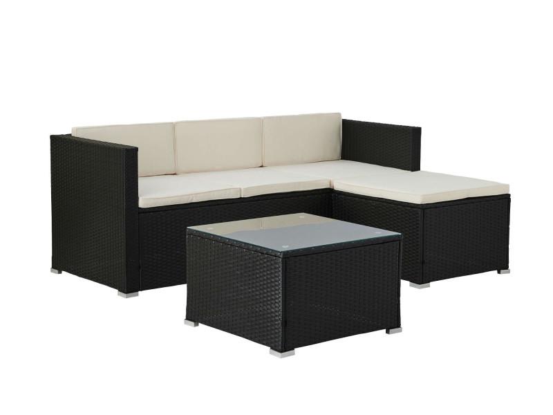 Lumio - salon bas de jardin 4 places - modulable - en résine tressée noire avec coussins beiges couleur - noir