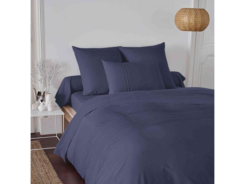 Parure de lit plis religieuses percale bleu marine 260x240 cm