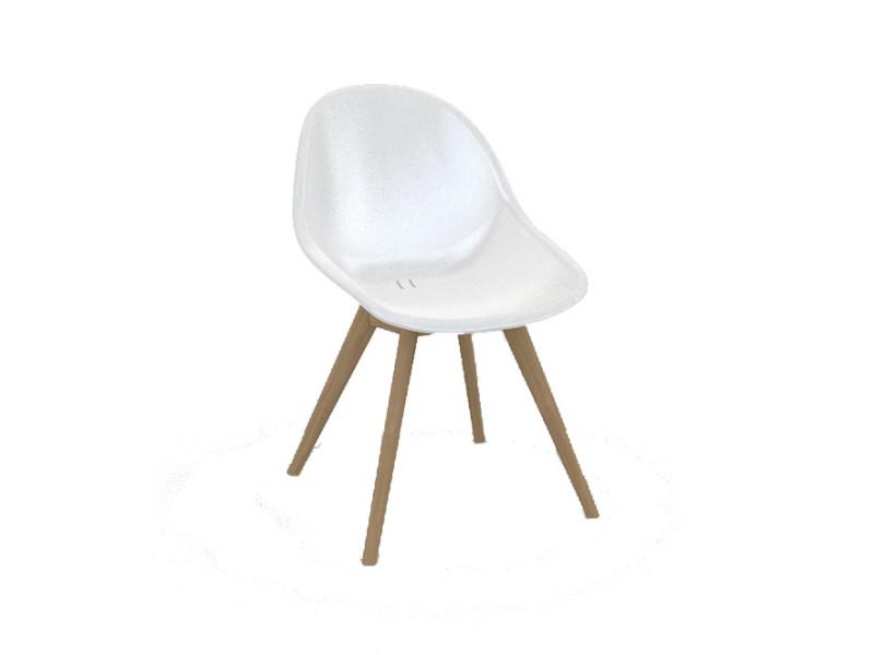 Chaise en polypropylène blanc et teck khol