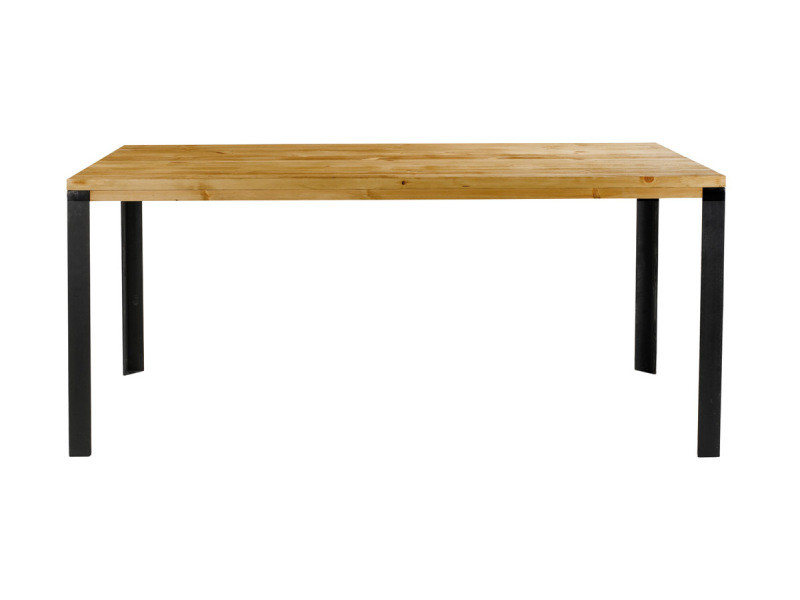 Table pin massif ciré et métal 160 cm city