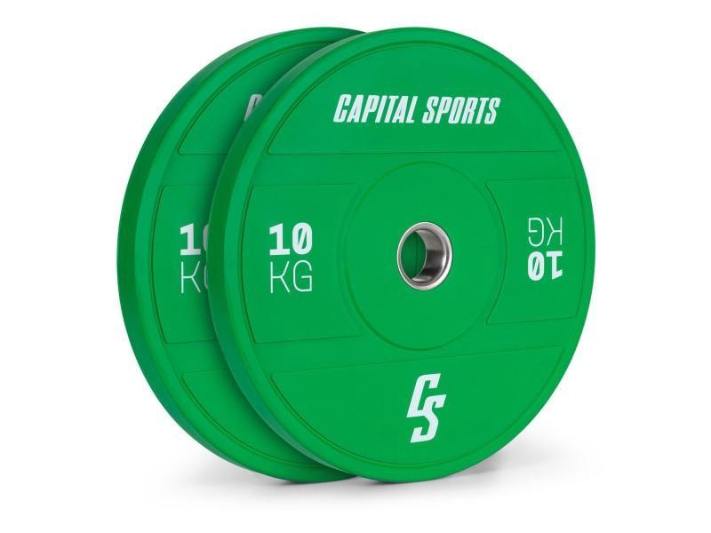 Disques pour haltères, barres cross-training et olympiques -capital sports nipton 2021 -2x 10kg - vert