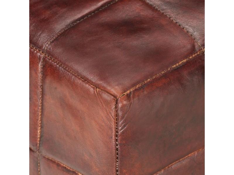 Vidaxl banc 2 places marron foncé et gris cuir véritable de chèvre 286965