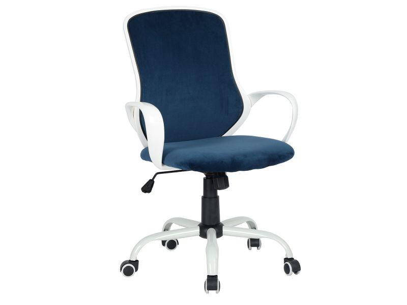 Nodwedd fauteuil de bureau velours blanc et bleu vente de