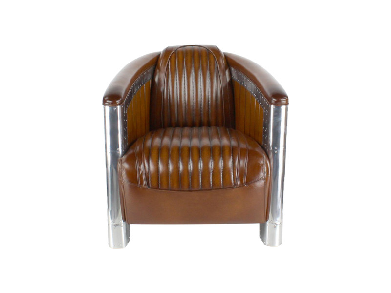 Fauteuil club cuir marron - cigare - couleur marron