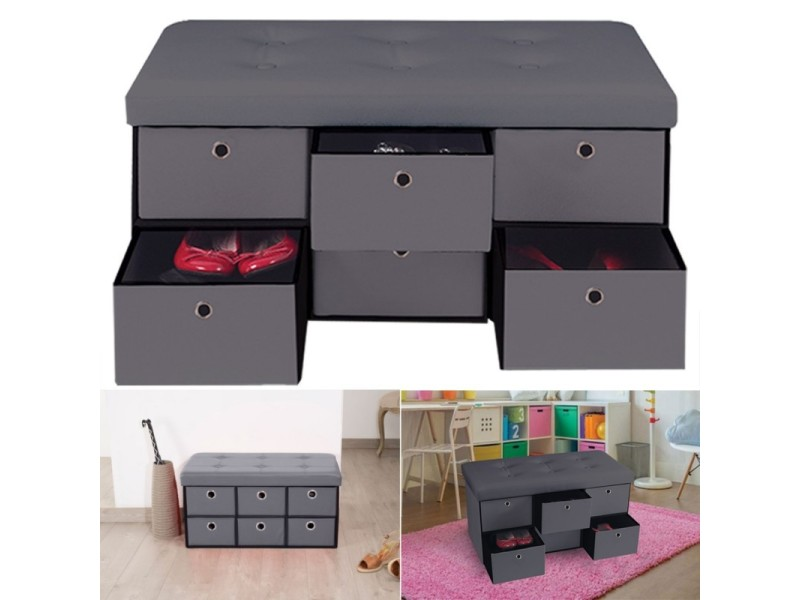 banc coffre rangement gris 6 tiroirs 76x38x38cm pvc. Black Bedroom Furniture Sets. Home Design Ideas