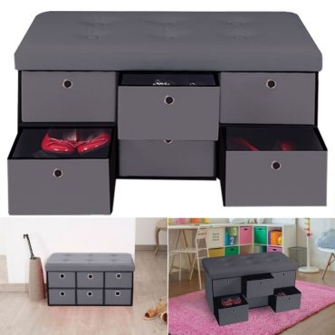 banc coffre rangement gris 6 tiroirs 76x38x38cm pvc vente de id market conforama. Black Bedroom Furniture Sets. Home Design Ideas