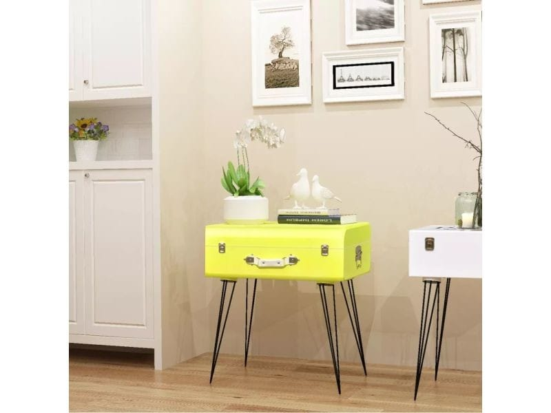 vidaxl table de chevet 49 5 x 36 x 60 cm jaune 243166 vente de vidaxl conforama. Black Bedroom Furniture Sets. Home Design Ideas