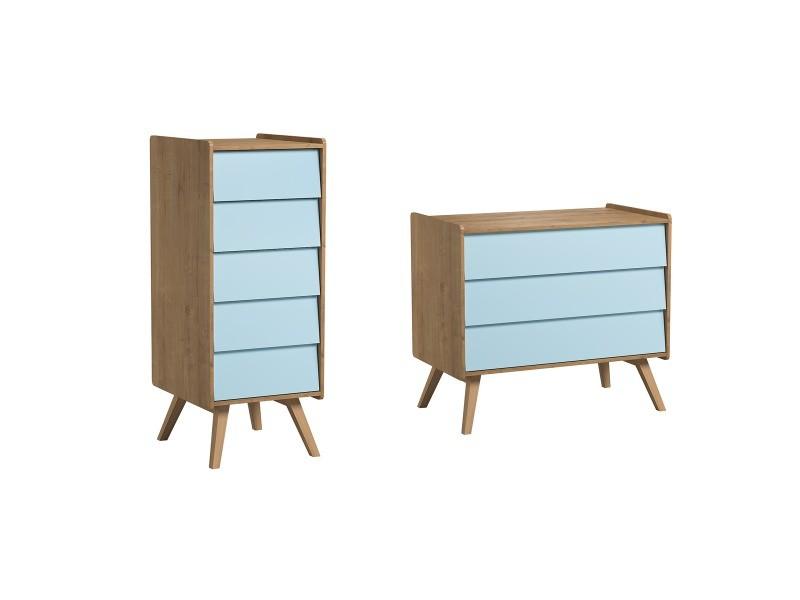 Commode à langer et chiffonnier vintage - bois bleu