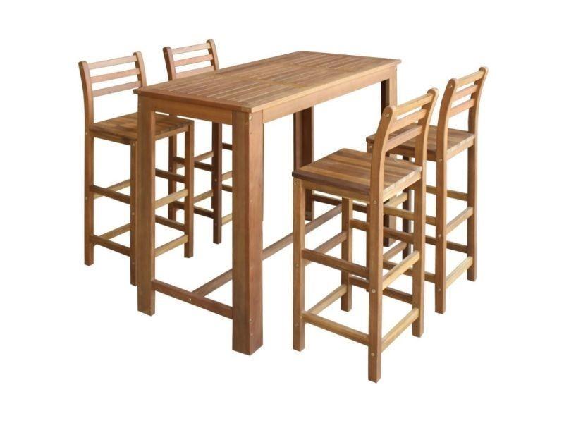 Vidaxl Table 5 Bar De Massif Bois Et D'acacia Pièces Tabourets MGLzqUpSV