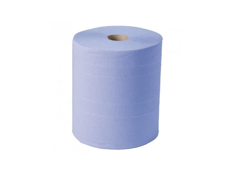 Maxi bobine d'essuie-mains bleu 2 plis jantex lot de 2 -