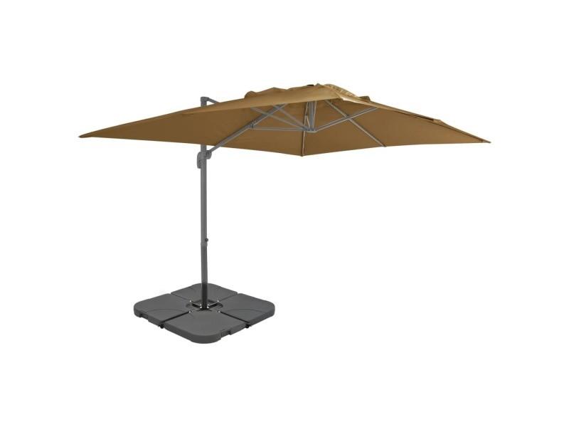 Vidaxl parasol avec base portable taupe 276349
