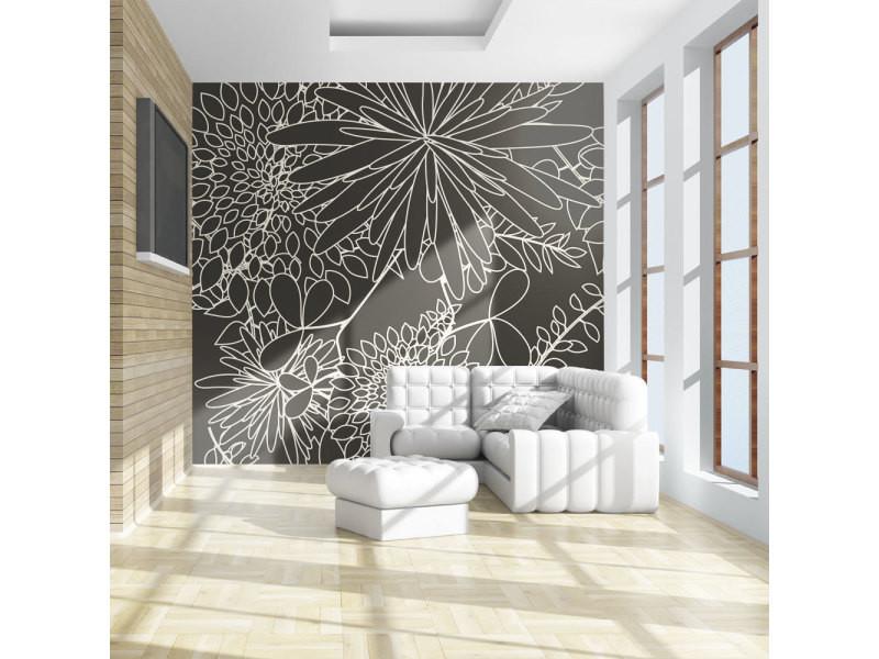 Papier peint - motif floral noir et blanc 250x193