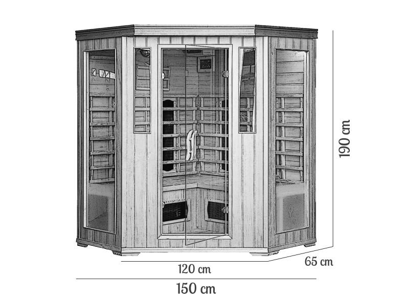 Cabine sauna luxe infrarouge 3 4 places 293 vente de sauna et hammam conf - Cabine hammam 4 places ...
