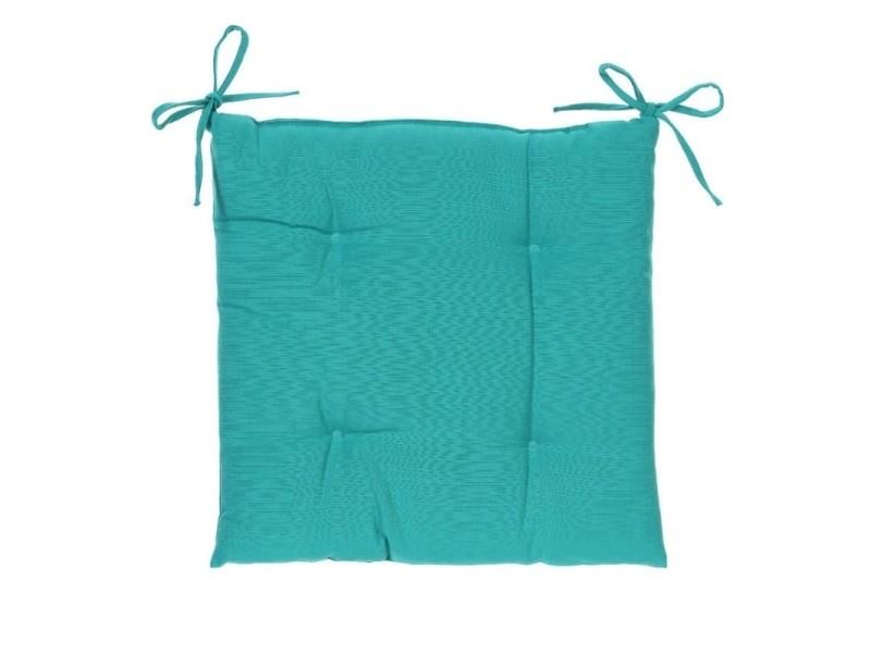 Galette de chaise carrée 4 points - 40 x 40 x 4 cm - polyester - bleu