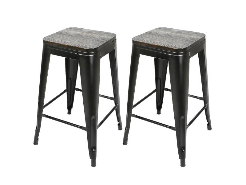 8x tabouret de bar industriel hombuy avec siège en bois, chaise de comptoir, métal, design industriel, empilable