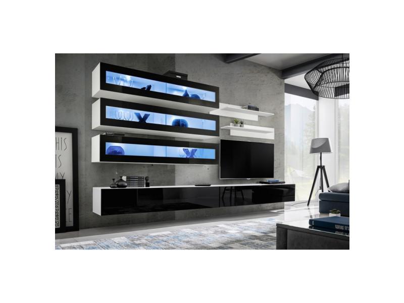 Ensemble mural - fly j - 3 rangements led - 2 meubles tv - 2 étagères - blanc et noir - modèle 1