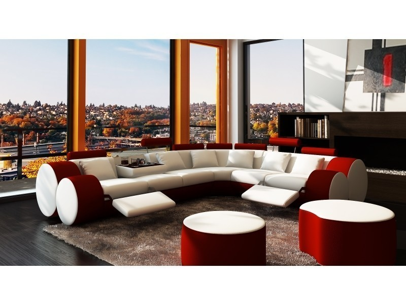 Canapé d'angle cuir blanc et rouge + positions relax roma-