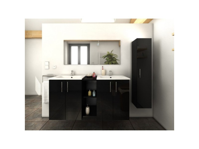 meuble de salle de bain double vasque 120 cm 1 colonne noir laura l 120 x l 46 x h 60. Black Bedroom Furniture Sets. Home Design Ideas