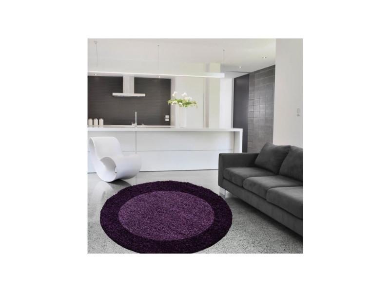 Nazar tapis rond life shaggy - violet - 160cm de diametre - Conforama