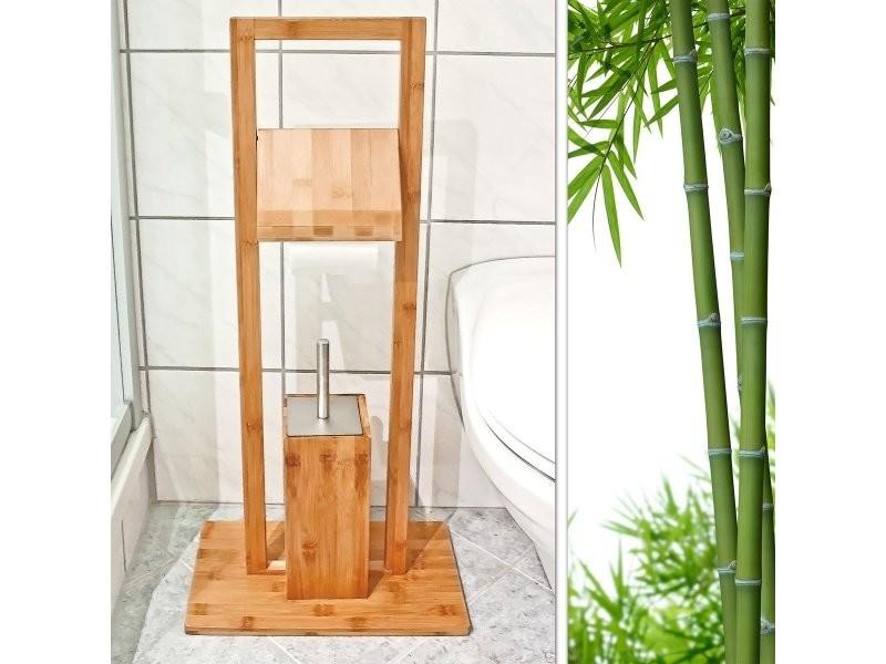 ensemble porte brosse wc et porte rouleau de papier toilette en bambou helloshop26 3213031. Black Bedroom Furniture Sets. Home Design Ideas