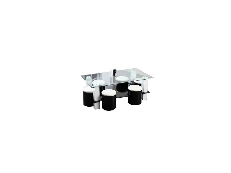 Bodega table basse + 6 poufs contemporain mdf noir et blanc - l 130 x p 70 cm noir