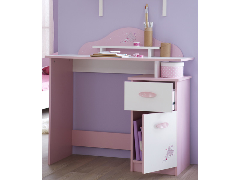 Bureau tiroir porte ouvrante coloris rose orchidée blanc