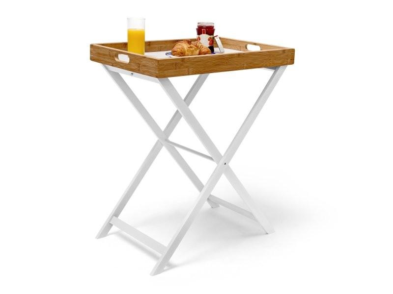 Table d'appoint pliable bambou plateau amovible helloshop26 2013069