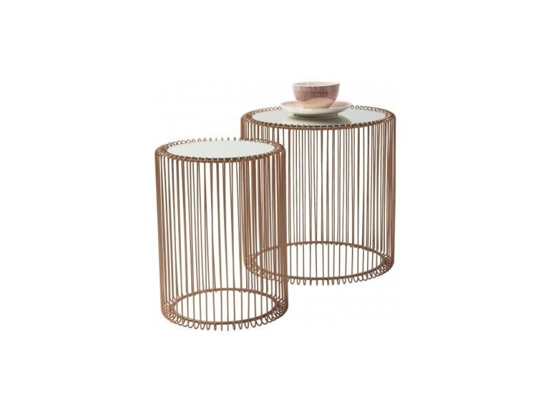 Set de 2 tables d'appoint cuivre et miroir wire