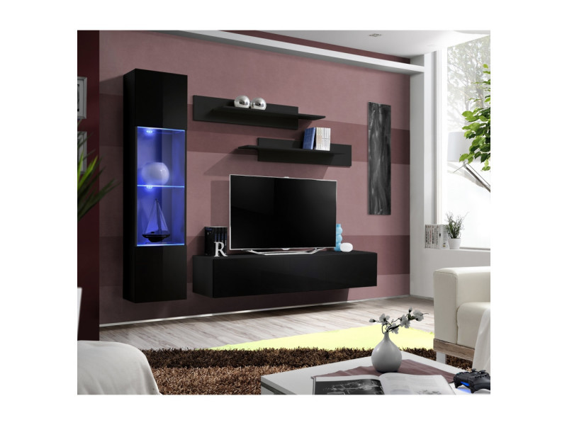 Ensemble meuble tv mural - fly iii - 210 cm x 190 cm x 40 cm - noir
