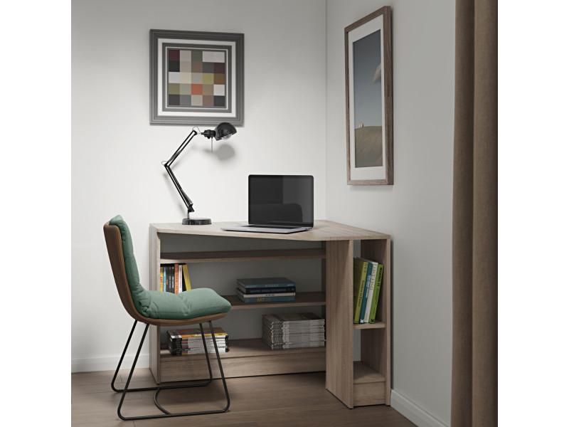 Bureau d angle en bois décor chêne plan vente de bureau conforama