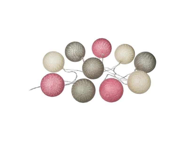 Guirlande lumineuse lin rose ivoire 10 boules led à piles