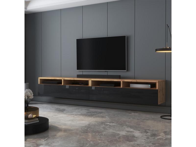 Meuble tv - rednaw - 200 cm - chêne wotan / noir brillant