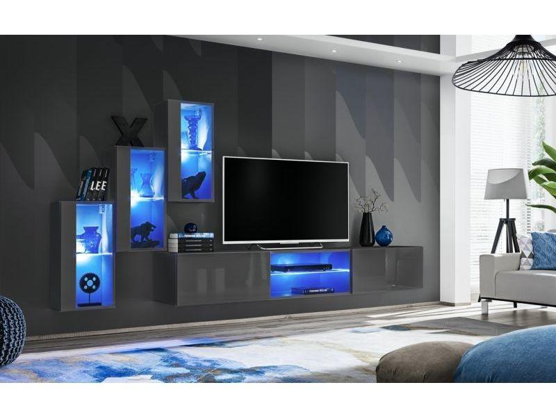 Ensemble meuble tv mural switch xxii - l 240 x p 40 x h 170 cm - gris