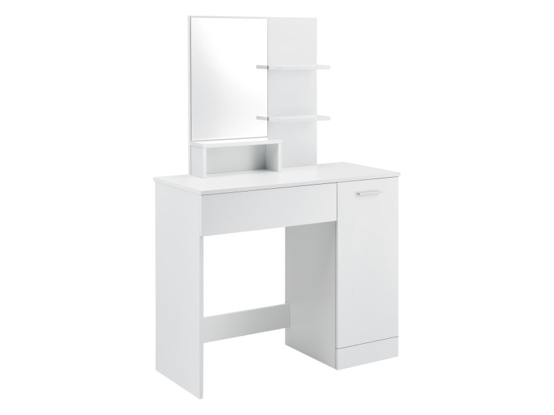 Coiffeuse design avec miroir tiroir étagères compartiment de stockage avec porte commode de coiffure stylée panneau de particules mélaminé 138 x 90 x 38 cm blanc [en.casa]
