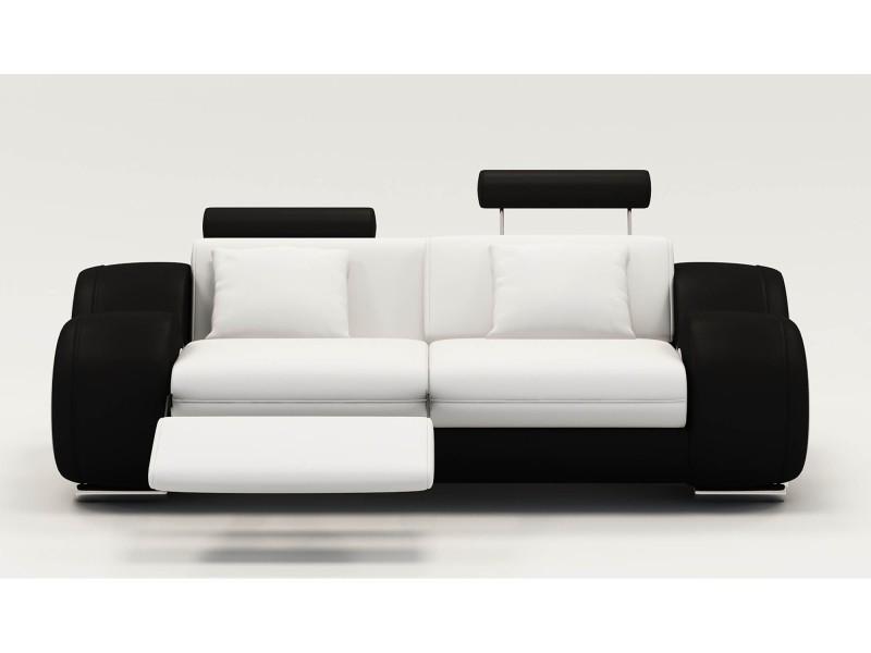 Canapé 2 places design relax oslo en cuir blanc et noir-