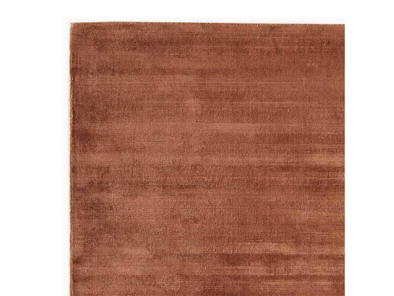 Tapis de luxe marron clair en viscose avec effet silky par ...