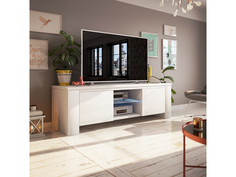 Meuble tv - jackson - 130 cm - blanc mat / blanc brillant - avec led SELSEY FRANCE