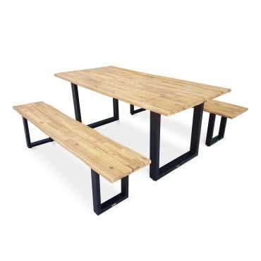 Table de jardin en bois 180cm avec 2 bancs - salta ...