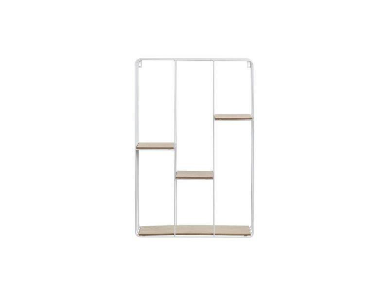 etag re murale design m tal blanc et bois slice vente de. Black Bedroom Furniture Sets. Home Design Ideas
