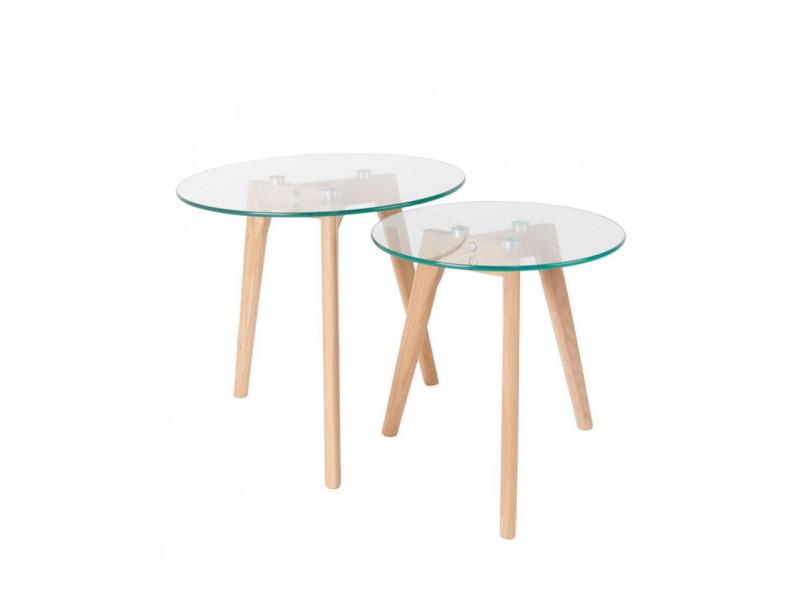 Lot de 2 tables d'appoint design scandinave ingmar - couleur - bois / verre 9363glass