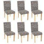 Lot de 6 chaises de salle à manger en tissu imprimé gris pieds clairs cds04219