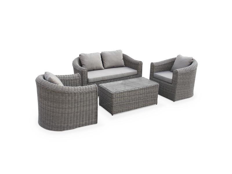 salon de jardin table en r sine tress e arrondie 4 places. Black Bedroom Furniture Sets. Home Design Ideas
