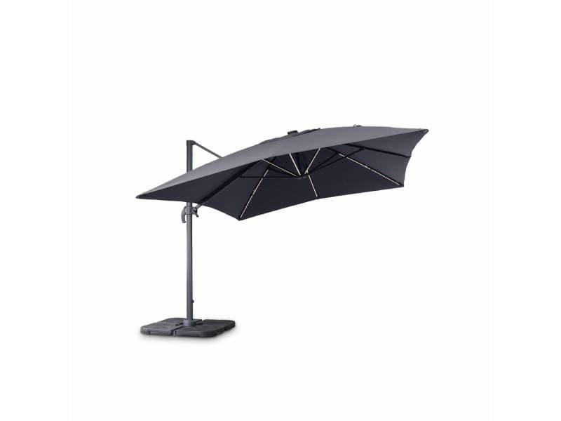 Parasol déporté solaire led rectangulaire 3 x 4 m haut de gamme - luce gris - parasol excentré inclinable, rabattable et rotatif à 360°, chargeur solaire