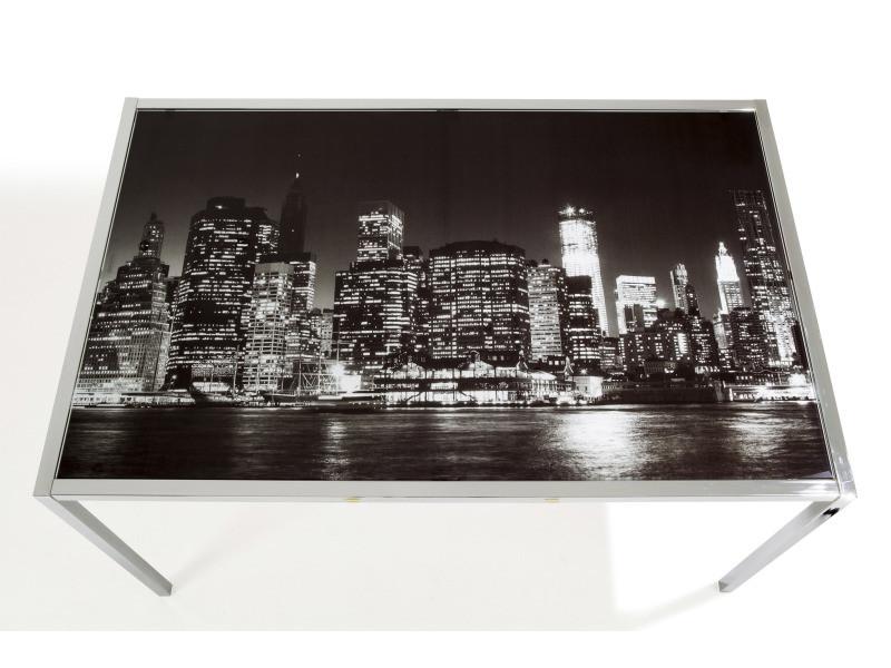 Cory plateau en verre trempé pour table rectangulaire imprimé ville la nuit
