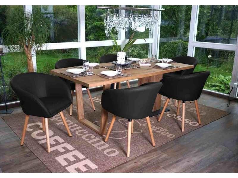 6x chaise de salle à manger malmö t633, fauteuil, design rétro des années 50 ~ similicuir, noir