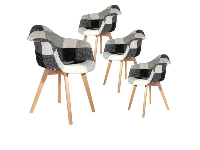 Mozaik - lot de 4 fauteuils scandinaves noirs et blancs