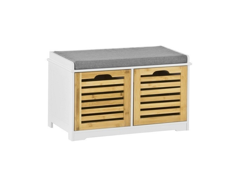 Banc de rangement avec coussin rembourré et 2 cubes, meuble d'entrée commode à chaussure banquette confortable sobuy® fsr23-k-wn