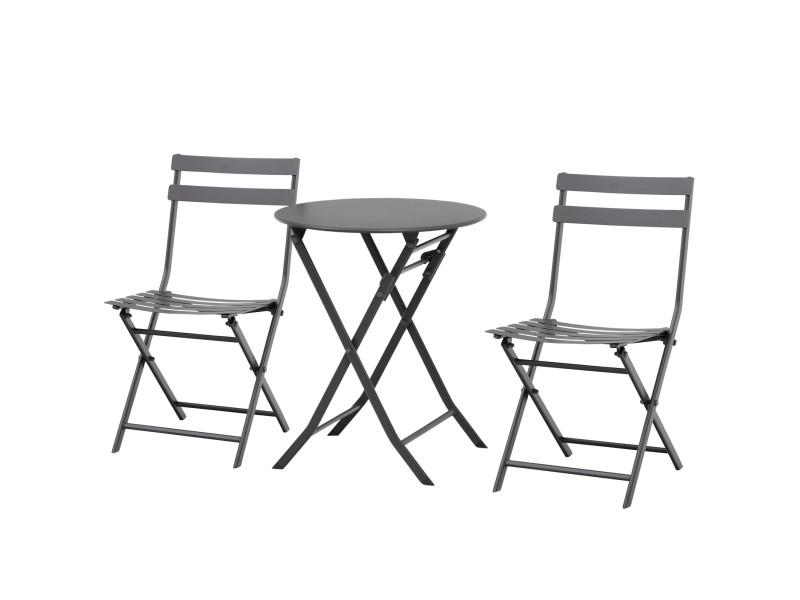Salon de jardin bistro pliable - table ronde ø 60 cm avec 2 chaises pliantes - métal thermolaqué gris
