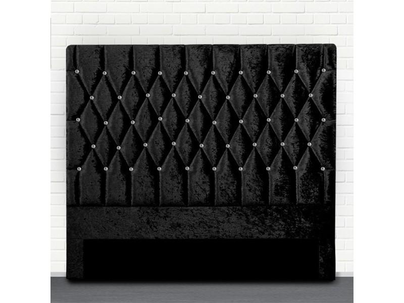 Tête de lit capitonné avec strass focus - noir tête de lit - 160 cm